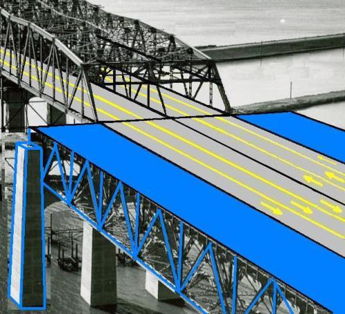 Élargissement du pont actuel par la construction de deux nouvelles chaussées de part et d'autre de la structure existante