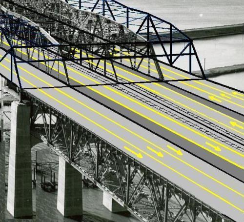 Remplacement du tablier par une structure en acier et implantation de 2 voies pour les SLR et 2 pour les automobiles